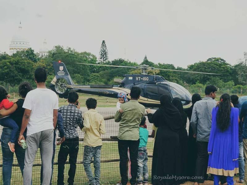 People watching helicopter (Mysore Helipad)
